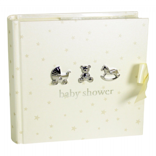 Baby Shower Gift Idea - Cream and Silver Baby Shower Photo Album - Suitable for baby boy or baby girl